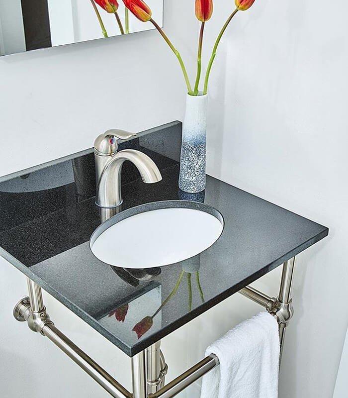 Pia Banheiro Decoração Preto Branco