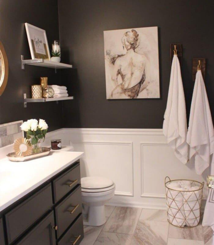 Preto e Branco Banheiro Sofisticado