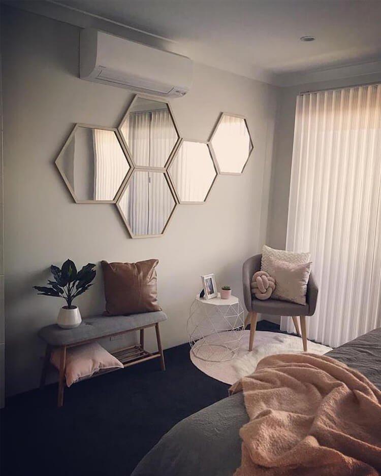 conjunto espelho hexagonal