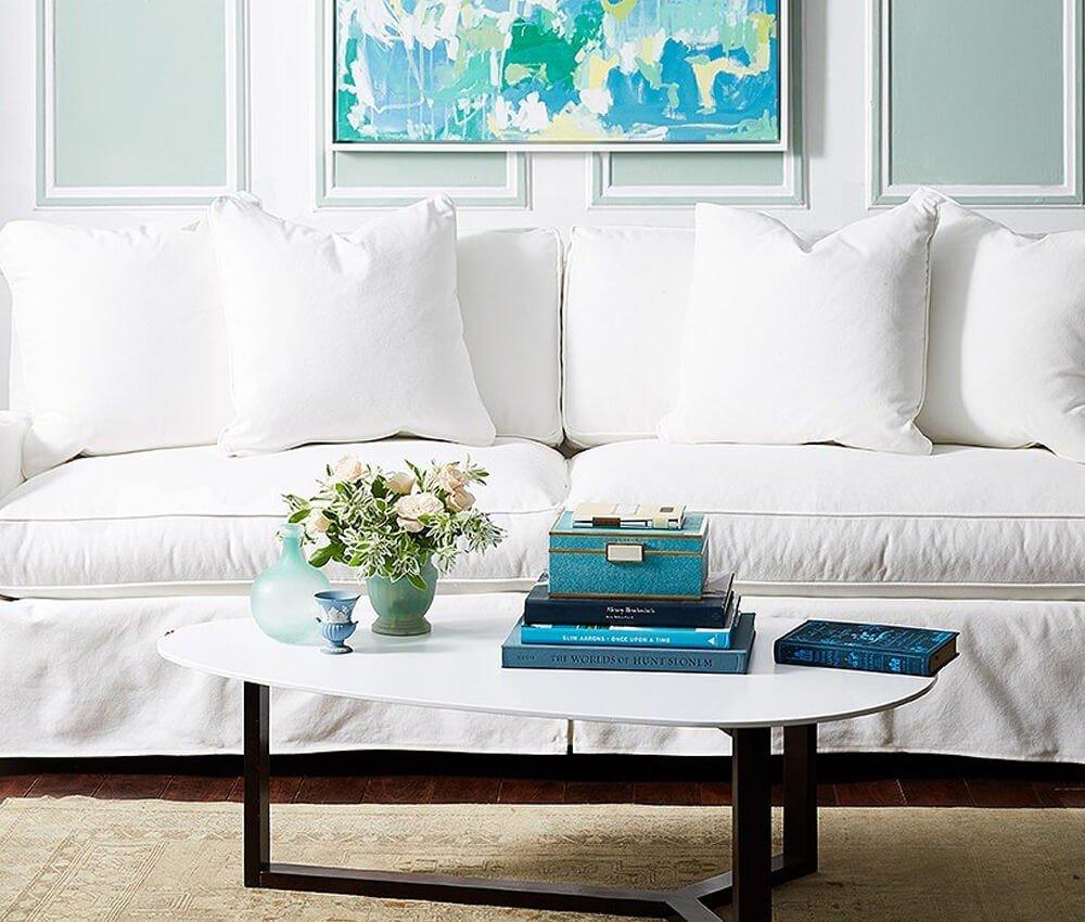 Cores Brancas Almofadas Sofa