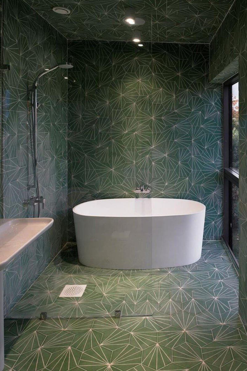Banheiro Verde Monocromático